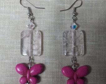 Crystal and Pink Butterfly Stone Earrings