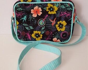 Cotton and Steel Honeymoon Morning Dew Black Polaris Bag- Sew Sweetness- Colibri- Small purse- handbag
