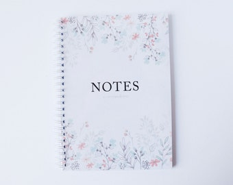 Notebook Spiral Bound Floral Journal Diary
