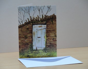Greetings Card and Envelope - Blank for your own Message - Any Occasion Card with White Envelope - Original Print of Old Garden Gate