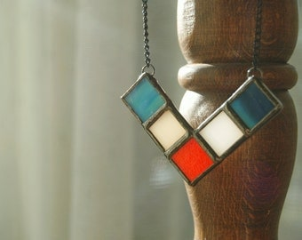 Blue White & Red Necklace / Stained Glass Jewelry/ Colorful Pendant/ Contemporary Jewelry/ Trendy Jewelry/ Geometric Necklace / Gift for Her