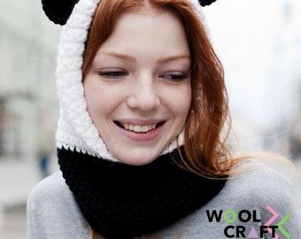 Panda Hooded Scarf | Panda Crochet Hood | Free Shipping | Sale