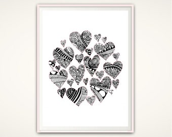 Heart Wall Art, Heart Print, Zendoodle, Love Print, Modern Minimal Print, Heart Decor, Gallery Wall Decor, Black and White Print, DOWNLOAD