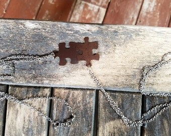 Antique Brass Puzzle Piece Necklace Pair - Rustic Modern Necklace - Men's + Women's Jewelry by Idle King