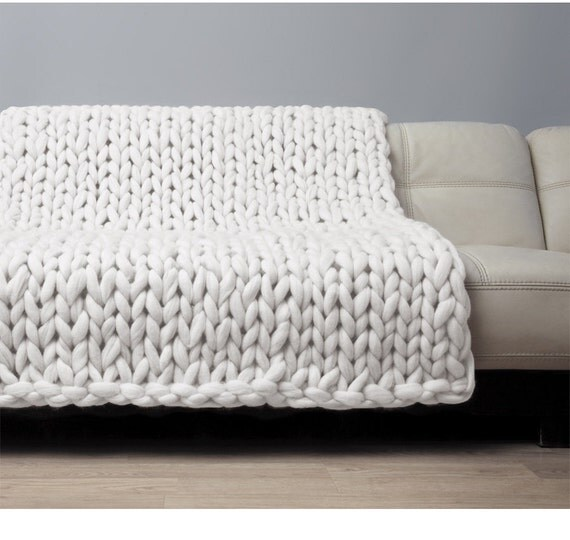 super chunky blanket giant knitted merino wool throw big. Black Bedroom Furniture Sets. Home Design Ideas