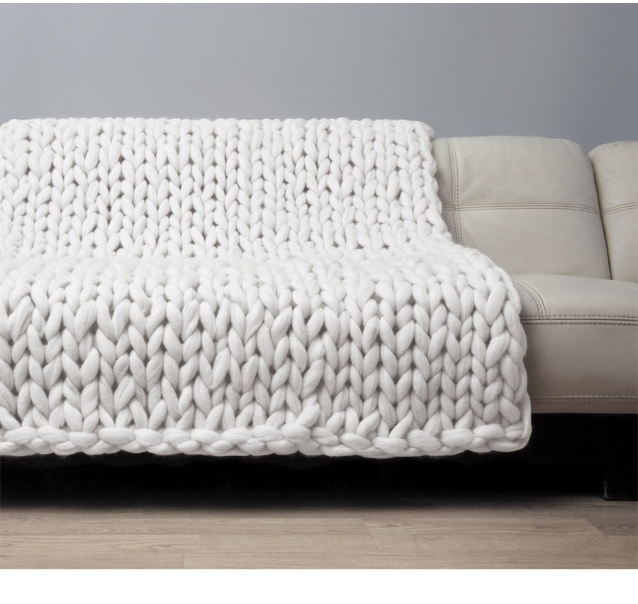 Giant Knitting Blankets : Super chunky blanket giant knitted merino wool throw big