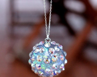 Swarovski Crystal New Year's Eve Ball Sterling Silver Pendant Necklace