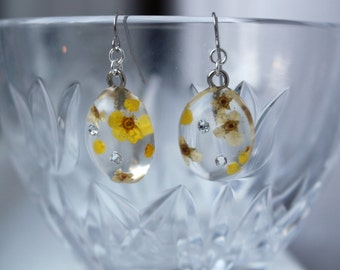 Real Yellow Flowers Sterling Silver Resin Earrings