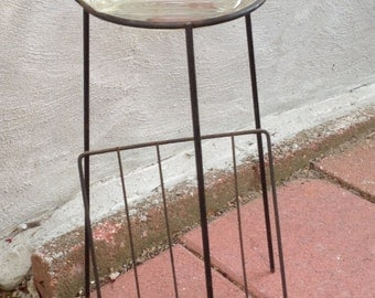 Mid Century Metal Wire Ashtray Stand/Magazine Rack