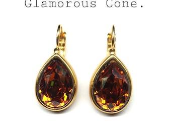 earrings brown Swarovski,pear-shaped earrings, gold plated crystal earrings,Swarovski drop earrings,gold plated eardrops,gift for girlfriend