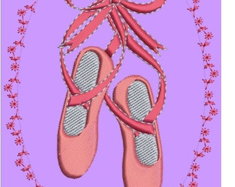 "Pink ballet slippers machine embroidery download 4different sizes(3x5""4x6""5x7""6x8""hoop)"