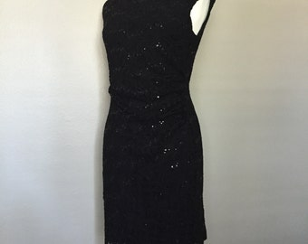 Ralph Lauren Black Sleeveless Evening Dress//Size 12- P//Pullover Stretchy