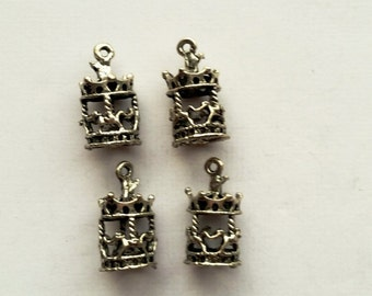 Merry-Go-Round Charms, Carousel Pendant Charms, Tibetan Silver, DIY Jewelry, 4 Pieces, 20 mm x 10 mm,