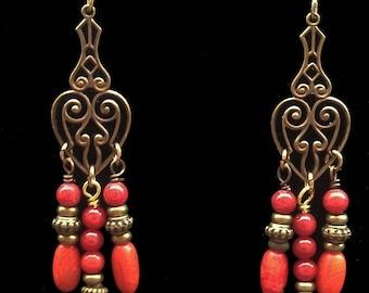 Genuine red coral dangle earrings