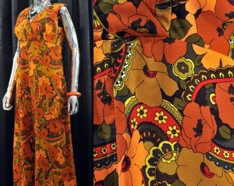 60s / 70s Floral Print Jumpsuit   Vintage Bright, Abstract Wide Leg Women's Jump Suit   Coats & Clark Metal Zipper. Yellow, Orange 16 waist