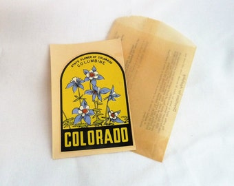 50s Colorado Travel Decal - State Flower Columbine - Suitcase Trunk Sticker - Vintage 1950s