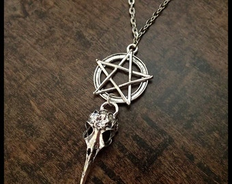 Pentagram necklace gothic ravenskull pentragramm skull pendant silver protector larp