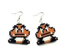 Goomba Earrings - Mini Perler Beads, Mini Hama Beads, Super Mario Earrings, Nintendo Earrings, Geek Earrings, Hook or Clip-On, Pixel Jewelry