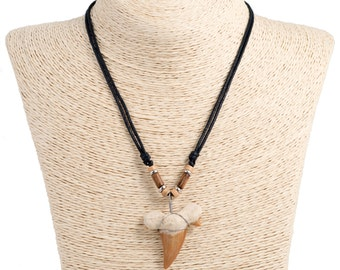 adjustable cord necklace with shark tooth