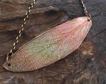 Leaf Texture Pendant, Sage Leaf, Copper Metal Clay, Patina, Artisan Jewellery