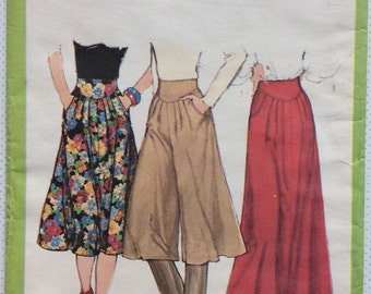 1970s Uncut vintage sewing pattern Simplicity 8248 Waist 26.5 Retro 70s skirt culottes & maxi with shaped waistband with pleats and pockets