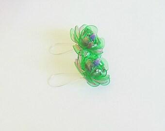 Eco friendly earrings, flower earrings, eco friendly, recycled earrings, recycled jewelry, upcycled earrings, earrings, long earrings