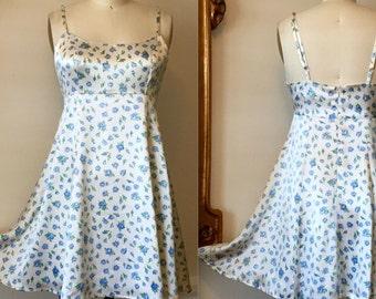 Vintage 1990s Betsey Johnson Grunge BLUE/WHITE Floral Rayon Satin Mini Dress M