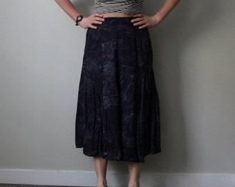 Vintage 80s Floral Skirt/ Purple High-Waist Skirt