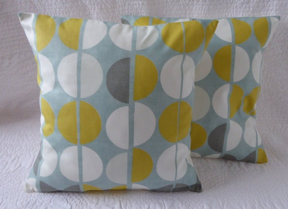 Cushion Pillow Cover 16 40cm Duck Egg Blue Mustard