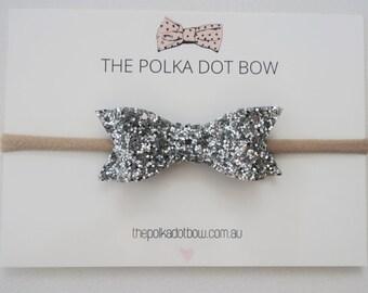 Silver Glitter Bow Headband, Baby Headband, Baby/Girls Headbands, Silver Bows, Silver Baby Headband, Bows, 'i v y' bow by ThePolkaDotBowCo