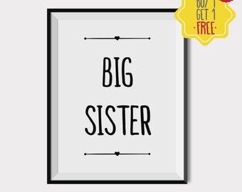 Big sister little sister gifts, Girl nursery wall decor, baby room art, kids art prints, newborn girl gift, kids room poster, nursery quotes