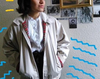 vintage beige fully lined harrington jacket 8-12