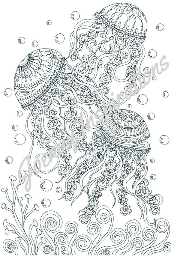 Adult Coloring Book, Printable Coloring Pages, Coloring Pages, Coloring Book for Adults, Instant Download, Treasures of the Ocean 1 page 1