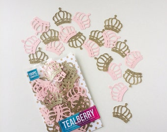 100 Piece -  Gold & Pale Pink Crown Confetti - Table Decor - Paper Confetti -  Gold Crown Confetti- Pink Crown Confetti - Ready to ship