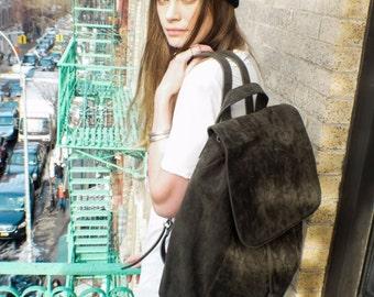 Suede Backpack, Leather Backpack,  Army Green Backpack, Street Backpack, School Backpack, Shoulder Bag, Vegan Leather, Vegan Suede