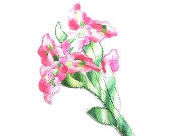 Antique Flower applique, 1930s vintage embroidered applique. Vintage floral patch, sewing supply, pink flowers. #648G101K1