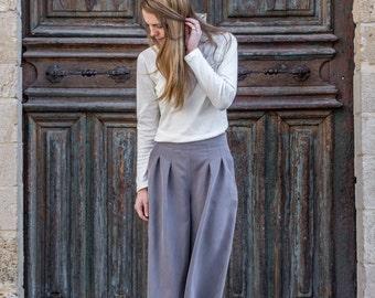 Culottes - gray pants - wide pants - wide leg pants - pleated pants