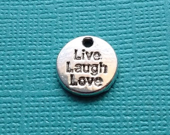 10 Live Laugh Love Word Charms Silver Circle - CS2432