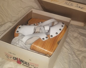 Genuine NOS vintage 70s platform wedge sandals, White leather on real wood, in original box.