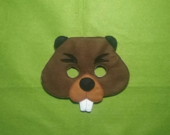 BEAVER Felt Mask - Woodland Animal Mask - Pretend Play Mask - Children Mask - Adult Mask