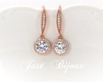 Wedding Earrings Rose Gold plated Zirconia Earrings Wedding Jewelry Wedding Earrings Bridesmaid Gift Bridal Jewelry Bridesmaid Earrings