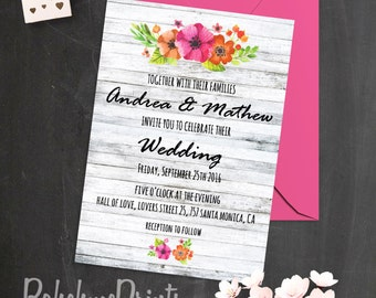 Printable Wedding Invitation Bohemian Wedding Invitation Set Summer Wedding Invites Boho Wedding Invitations White Wood Wedding Invitations