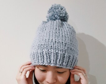 MADE TO ORDER - 12 colours - Chunky Knit Beanie - Slouchy Beanie - Knit winter hat - Pom Pom Knit hat | beanie