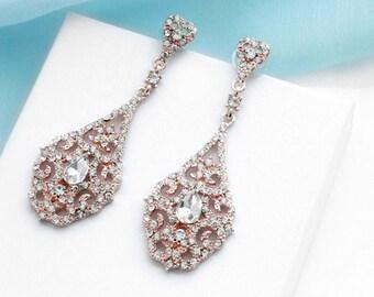 Rose Gold bridal earrings, Crystal wedding earrings, Crystal Bridal jewelry, Wedding jewelry, Vintage style, Bridesmaid earrings  11309RG