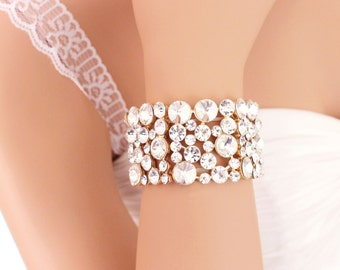 GOLD Statement bracelet, Wedding bracelet cuff, Bridal rhinestone bracelet, Chunky crystal bracelet, Bridal jewelry, Wedding jewelry 0158G