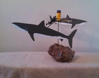 Shark Decor Handmade Kinetic Sculpture Kinetic Art Moving Art Beach Decor