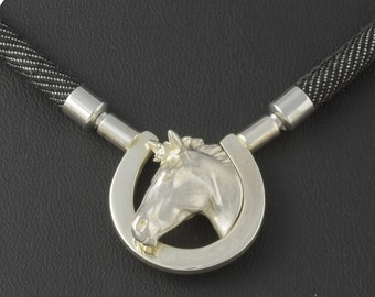 Middle section • Collier • horse head Horseshoe • solid & 3D • silver • Sterling • change lock
