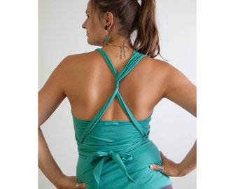 Multiway Top organic cotton in turquoise, convertable, in many ways, backless, asymmetrical shell for the summer, ethical fashion, fair
