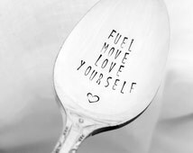 Fuel Move Love Yourself Spoon, Hand Stamped Spoon, Fitness, Motivation, Inspiration, Fitness, Healthy Eating, Clean Eating, Workout, Trainer