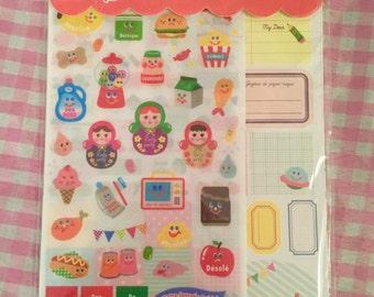 Kawaii set of 12 sticker sheets